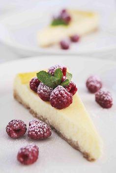 Lemony Cheesecake with Scrumptious Fresh Raspberries