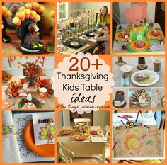 20+ Kids Thanksgiving table ideas  - easy, lots of free printables, lots of ideas!  Make the kids table fun this year for Thanksgiving!  - TheFrugalHomemaker.com