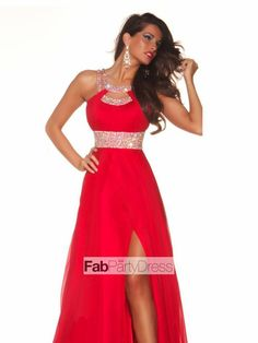 Chiffon Prom Dresses / Evening Dresses (Bust:36.5 inch, Waist:29.5 inch, Hips:39.5 inch, Hollow to Floor:63 inch ; Red)