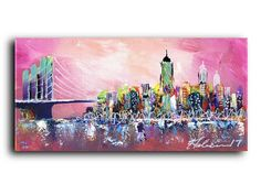This beautiful exquisite original painting is AMAZING! It will look great any where in your home or office.  #Art #Collectibles #Painting #Acrylic #originalpainting #NewYork #Skyline #cityscape #modern #contemporary #streetart #urbanart #scenic #lifestyle #instyle #homedecor #designer #homefashion #pinkart #pinkaccessories #cool #unique #sale #gallery #artprints #LA #boston #chicago