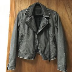 Leather Jacket Grey/Black  Vegan Leather Jacket. NWOT. Super cute. Has a slight snake skin pattern on it. Fits like a small Blank NYC Jackets & Coats