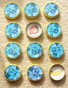 DIY Memory Game with baby food jars use laminated stickers and remove easily