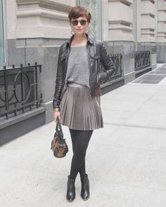 i want this skirt and leather jacket!