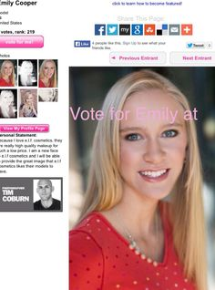 Vote for Emily Cooper as e.l.f cosmetic's new teen model! You can vote at exploremodeling.com/.../96306/Emily_Cooper.aspx