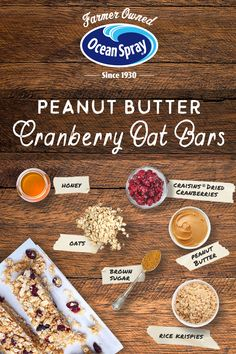 Try This tasty Recipe from Ocean Spray - Peanut Butter Cranberry Oat Bars Breakfast Recipes, Snack Recipes, Cooking Recipes, Fun Cooking, Crockpot Recipes, Oat Bars, Granola Bars, Healthy Desserts, Food To Make