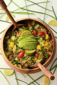 This vegan quinoa salad with sesame soy dressing is bursting with healthy flavor and goodness. Vegan, gluten-free, satisfying and delicious! Veggie Recipes Healthy, Delicious Vegan Recipes, Healthy Cooking, Whole Food Recipes, Salad Recipes, Vegetarian Recipes, Dinner Recipes, Healthy Eating, Cooking Recipes
