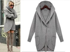Womens jacket fold over collared cardigan style womens sweater long length - Stitches & Seams USA Fashion Boutique