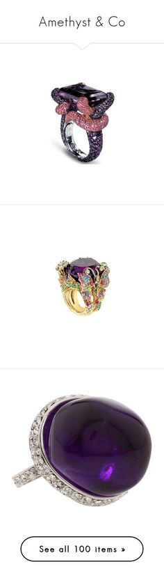 """""""Amethyst & Co"""" by olivia-richter ❤ liked on Polyvore featuring jewelry, rings, accessories, amethyst jewelry, pink sapphire jewelry, amethyst rings, pink sapphire ring, emerald cut pink sapphire ring, bague and purple"""