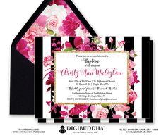 "Baptism Invitation, ""Christy"" style with a gorgeous classic black and white stripe pattern overlaid with florals in lush shades of pink. Modern calligraphy, black envelope & floral envelope liner also available, at digibuddha.com"