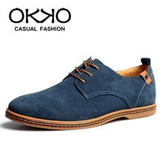 spring autumn men's casual suede shoes nubuck leather oxford shoes blue/green/earth yellow/brown/gray/black $36.99