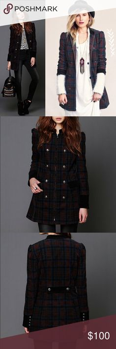 Free People Plaid Corduroy Lady Coat Military Super cute Plaid coat. Size: 0. Small hole by collar as seen in last picture. First three photos are stock photos to show fit. From FP site: Plaid patterned corduroy coat with zipper opening at the front with two rows of button detailing. Contrast trimming around neckline, at sleeve hems, and on front pocket flaps. Button tab detailing at back of waist. Shoulder are slightly puffed. Fully lined with quilted fabric.  98% Cotton, 2% Elastane Dry…