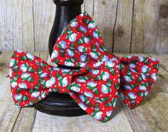 Tiny Snowman Bow Tie Hair Clip Headband or by SunFlowerFreckles