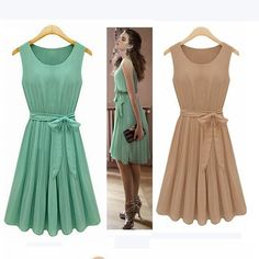 2a2c3bcb41 Aliexpress.com : Buy Good Quality Hot 2017 Summer Casual Women Chiffon  Dresses Sleeveless Vest Pleated Dress with Sashes Green Brown Vestido  Feminino from ...