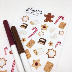 Christmas Treats Aquarell Watercolor Stickerset for Bullet Journal, Filofax, Scrapbook, Pretty Planning
