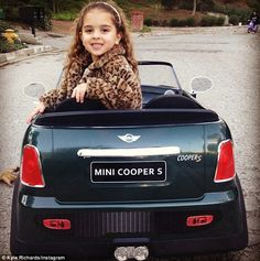 Wanna ride? Kyle often tweets pictures of her privileged four-year-old Portia wearing designer duds, driving around in her mini Mini-Cooper, and enjoying the high-life with her famous family.