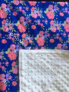 Flower print and Cream Minky blanket by WhoNeedsSleepAnyways