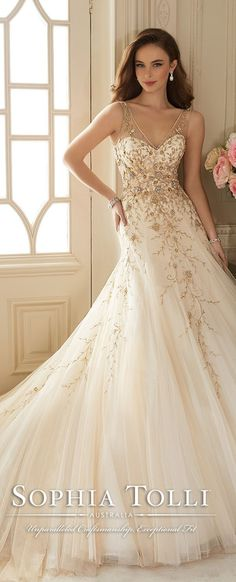 sophia tolli v neck gold wedding dresses spring 2016 Y11650                                                                                                                                                                                 More