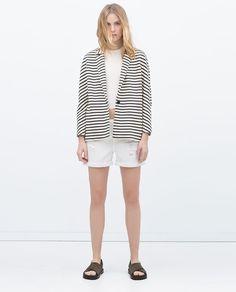 Image 1 of STRIPED VELOUR BLAZER from Zara Blazers For Women, Jackets For Women, Closet Collection, Summer Stripes, Zara New, New Week, Zara Women, Blazer Jacket, Chiffon