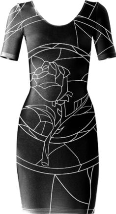 Stained Glass Rose Black Short Sleeved Bodycon Dress - Available Here: http://printallover.me/products/0000000p-stained-glass-rose-black-2