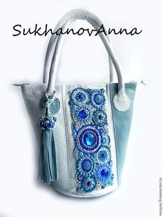 """Купить Сумка """"Гжель"""" - голубой, синий, белый, гжель, синий-голубой-белый, сумка кожаная"""