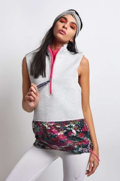 e3f9fa494b4 adidas X Stella McCartney Run Gilet - Floral Grey - The Sports Edit Stella  Mccartney Adidas
