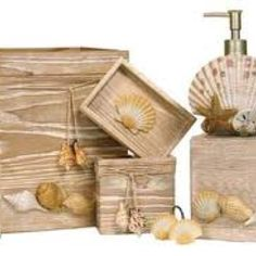 Simple, affordable easy ideas to revamp existing wood or bamboo bathroom accessories. This is a project that I am working on currently. Seashell Bathroom Decor, Beach Theme Bathroom, Nautical Bathrooms, Beach Bathrooms, Ocean Bathroom, Beach Cottage Decor, Coastal Decor, Coastal Style, Bamboo Bathroom Accessories