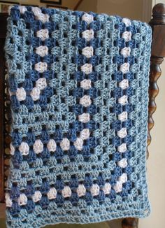 Baby Afghan Blanket - granny square design - blue and white.