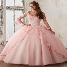 Three Quarter Peach Pink Quinceanera Dresses 2017 New V neck Applique Lace Sweet 16 dress Pageant Prom Gowns  For 15 years Girl