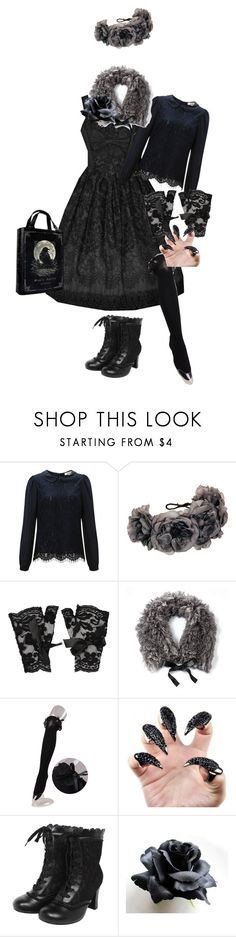 """""""Dark Mori Lolita Coord 5"""" by sakuuya ❤ liked on Polyvore featuring Vers, Somerset by Alice Temperley, Rock 'N Rose, Forever 21, Simply Vera and Bodyline"""