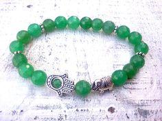 Green Jade Hamsa bracelet Elephant bracelet Hamsa by SoCutiful, $15.95