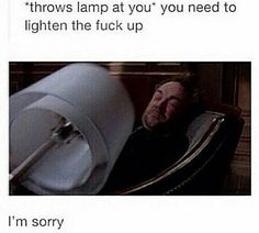 hahahaha Crowley's face You need to lighten up