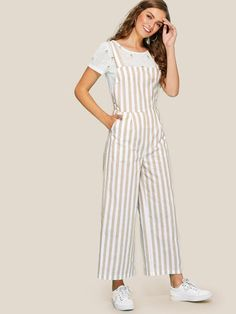 SheIn offers Thick Strap Striped Wide Leg Jumpsuit & more to fit your fashionable needs. Indian Fashion Dresses, Girls Fashion Clothes, Teen Fashion Outfits, Girly Outfits, Girl Fashion, Casual Outfits, Clothes For Women, Jumpsuit Outfit, Designs For Dresses