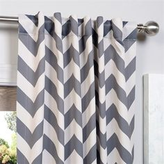Exclusive Fabrics & Furnishing BOCH-KC37 Fez Grey and Tan Blackout Curtain Panel