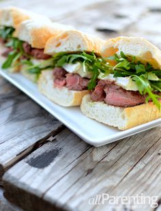 Mini Brie, steak and arugula sandwiches @allParenting @Rachel Voorhees #recipes #gourmet #cheese