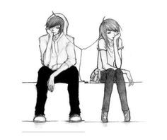 Sketch drawing couple general girl bot iPod music adorable overload