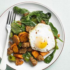 Perk up your next batch of sweet potato hash with sausage, peppers, spinach, and a pinch of crushed red pepper.