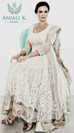 Beautiful white lace anarkali