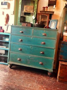 French turquoise drawer