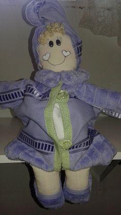 porta papel higiênico de boneca lilas
