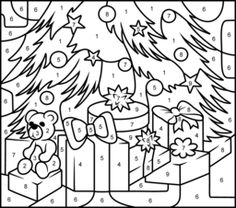 Christmas Coloring Pages Christmas Color By Number Coloring Pages Christmas Colors
