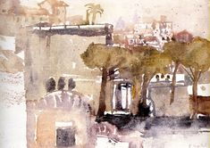 Gouache, Art Sketchbook, Watercolor, Landscape, Museum, Painting, Drawings, Watercolor Painting, Pen And Wash