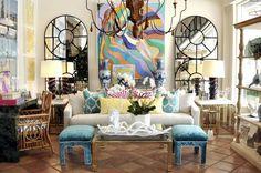 Vintage Pair of Turquoise Stools - Mecox Gardens #PalmBeach #interiordesign #home #decor #design #furniture #MecoxGardens
