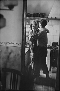 "slow dancing in the kitchen... ""Valencia, Spain, 1952""; photography by Elliott Erwitt"