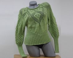 Green knit sweater Women blouse with long sleeves by CleopatraArt