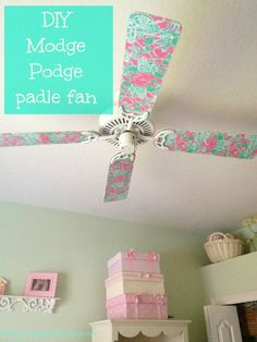 DIY Paddle Fan Makeover.  I am so doing this for Brookelynns room. :)