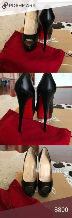 Lady Peep • Christian Louboutin • Sexy • Black Sexy Lady Peep by Christian Louboutin, size 36, 150 heel. Comes with box, duster, and heel replacements. Gently worn! Christian Louboutin Shoes Heels