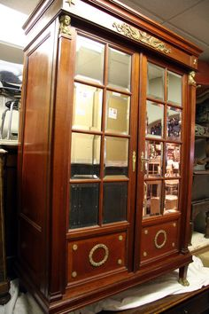 Antique French Empire Style Display Cabinet Bookcase In Mahogany And Bronze