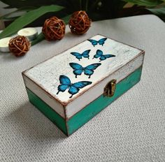 Turquoise Decorative Wooden Box, Vintage Style Decoupage Jewelry Small Box, Unique Gift For Mother, Blue Butterfly Box Wooden Box Crafts, Decorative Wooden Boxes, Cigar Box Crafts, Painted Wooden Boxes, Small Wooden Boxes, Painted Jewelry Boxes, Small Boxes, Wood Boxes, Cigar Box Art