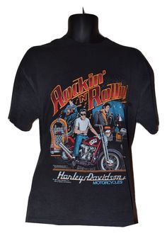 Vintage 1987 HARLEY DAVIDSON Elvis Presley T Shirt XL Rockin n Rollin 80's