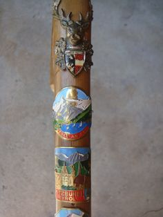 German Hiking Stick Cane with Medals $135.00 - what a nice way to keep up with a collection